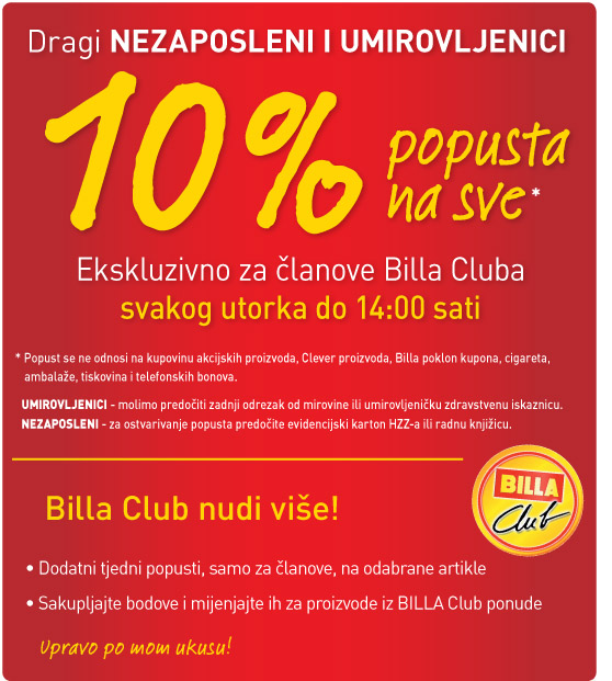 Billa -10% umirovljenici i nezaposleni