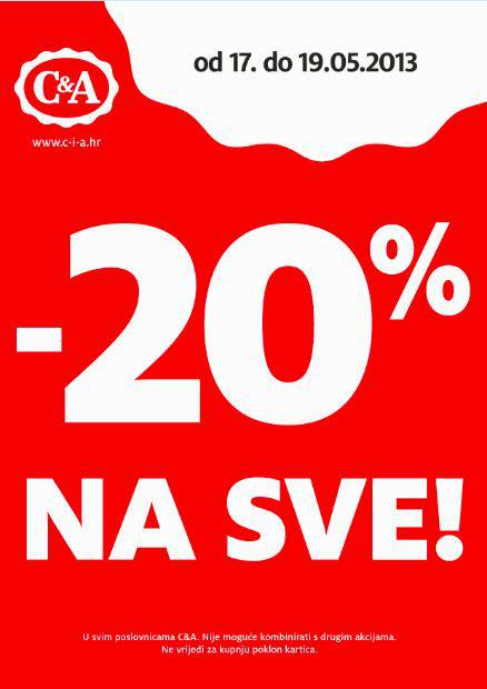 C&amp;A akcija -20% na SVE!