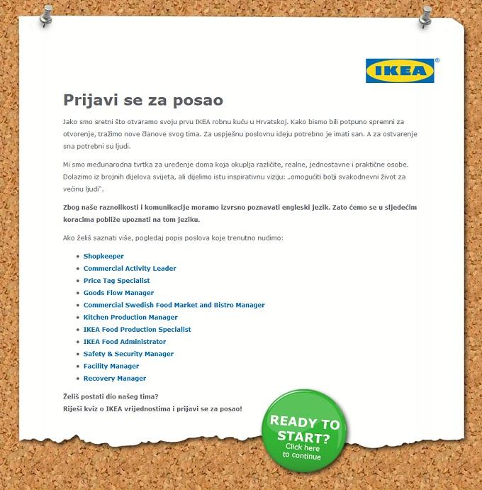 IKEA posao prijava