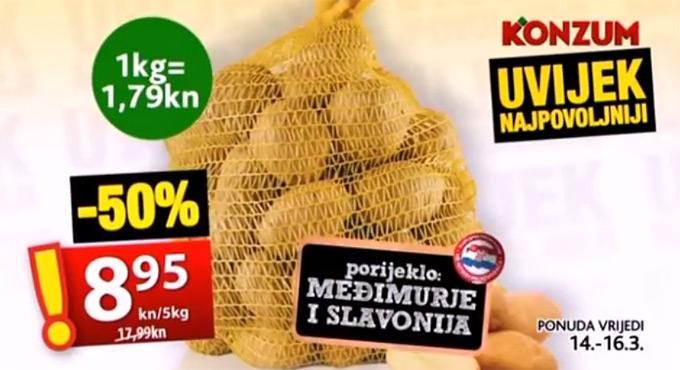Konzum krumpir