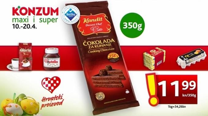 Konzum čokolada za kuhanje
