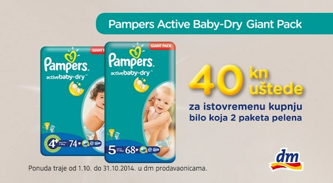 DM Pampers Active Dry Giant pack popust