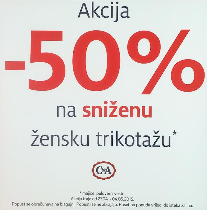 C&A akcija 50%