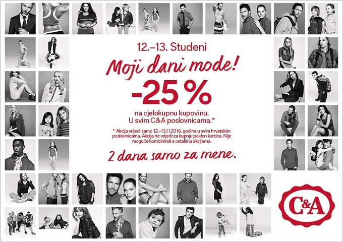C&A akcija -20% na ukupnu kupovinu