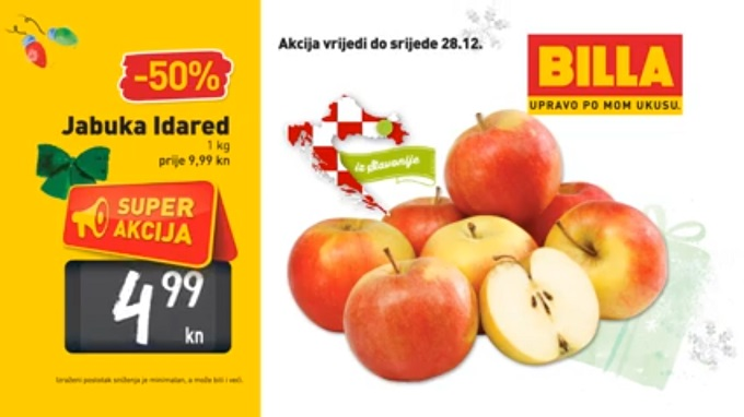 Billa akcija jabuka Idared