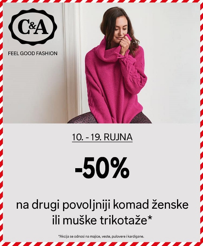 C&A akcija -50% na drugi par trikotaže