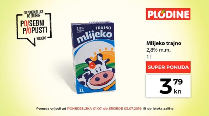 Plodine akcija mlijeko trajno