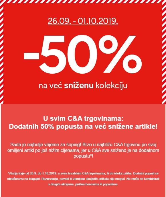 C&A akcija -50% na sniženu kolekciju