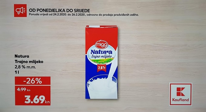 Kaufland akcija Natura trajno mlijeko