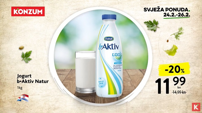 Konzum akcija jogurt b aktiv