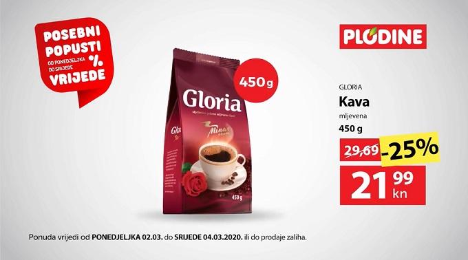 Plodine akcija Gloria kava