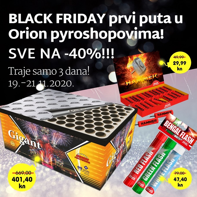 Orion pirotehnika akcija Black Friday
