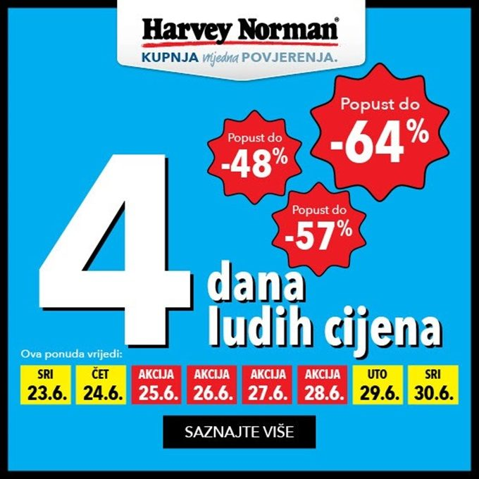 Harvey Norman webshop akcija 4 dana ludih cijena