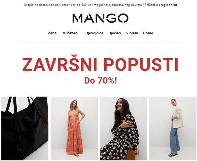 Mango webshop akcija Završni popusti