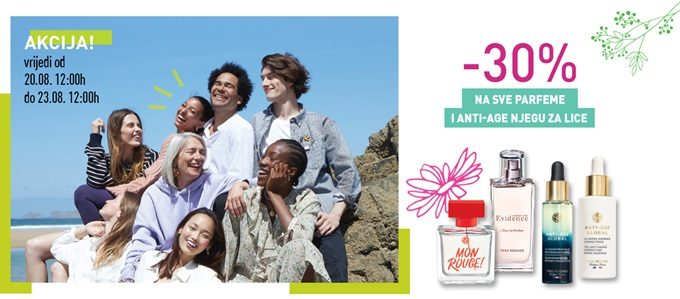 Yves Rocher webshop akcija na svu anti-age njegu i parfeme